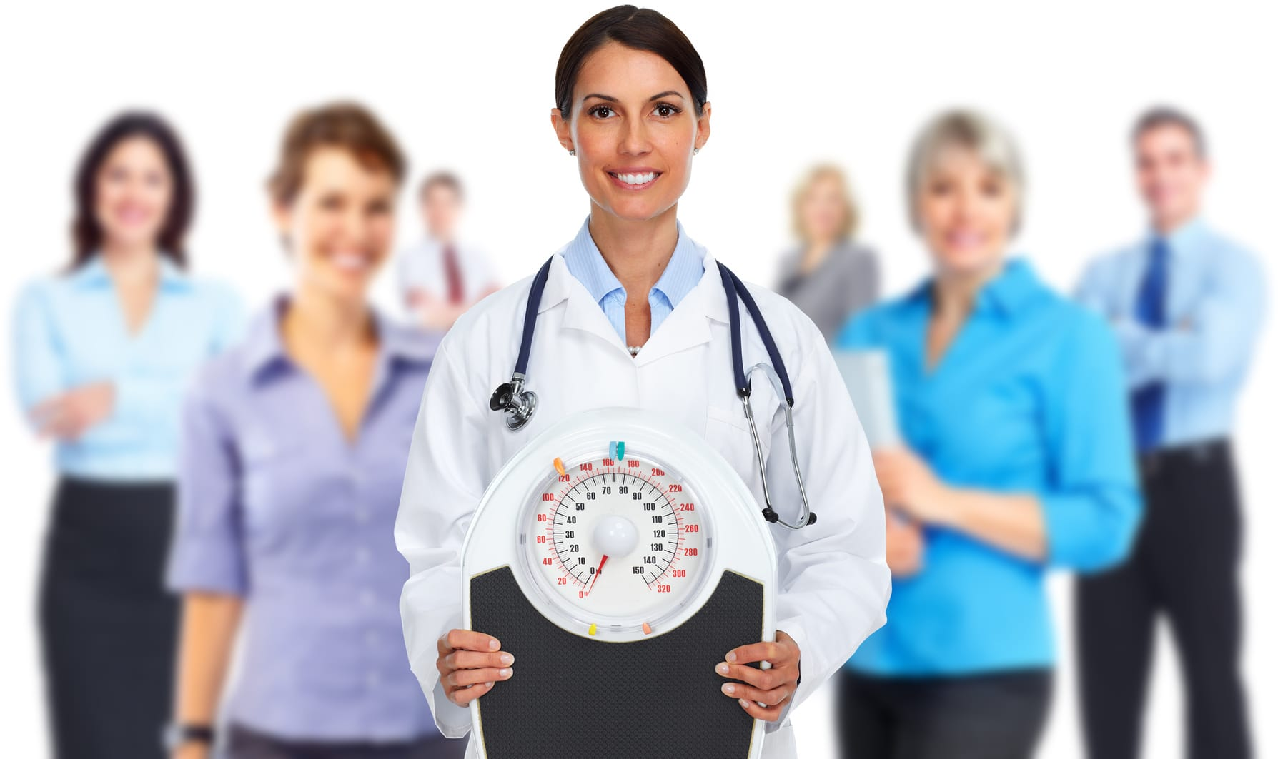 Medical doctor woman with scales. Diet and weight loss concept.